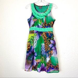 SWEET SINAMMON Green Floral Spring Silk Dress (S)